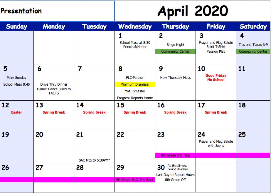 April 2020 events